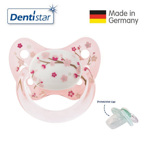 OceanoKidz.com - Dentistar Tooth-friendly Pacifier Silicone (0-6 months) size 1 with protective cap - Pink Flower