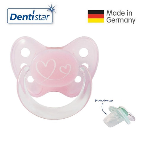 OceanoKidz.com - Dentistar Tooth-friendly Pacifier (0-6 months) size 1 with protective cap - Pink Hearts