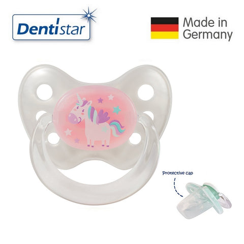 OceanoKidz.com - Dentistar Tooth-friendly Pacifier Silicone (0-6 months) size 1 with protective cap - Unicorn