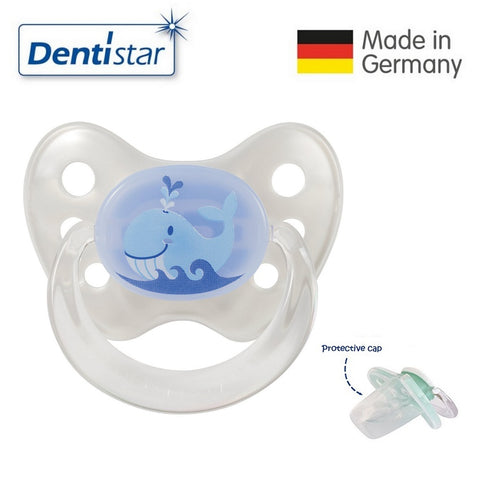 OceanoKidz.com - Dentistar Tooth-friendly Pacifier Silicone (0-6 months) size 1 with protective cap - Whale