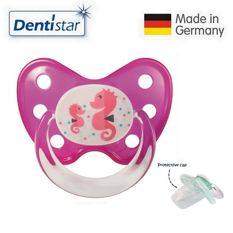 OceanoKidz.com - Dentistar Tooth-friendly Pacifier Silicone (14+ months) size 3, with protective cap - Seahorse