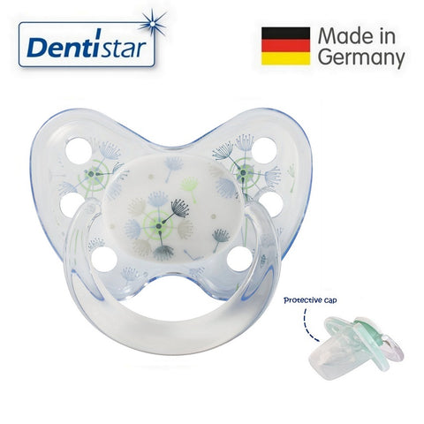 OceanoKidz.com - Dentistar Tooth-friendly Pacifier Silicone (14+ months) size 3, with protective cap - Blue Dandelions
