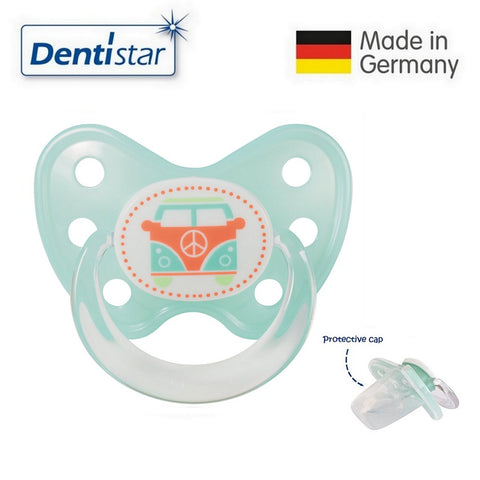 OceanoKidz.com - Dentistar Tooth-friendly Pacifier Silicone (14+ months) size 3, with protective cap - Bus