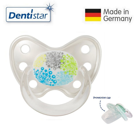 OceanoKidz.com - Dentistar Tooth-friendly Pacifier Silicone (14+ months) size 3, with protective cap - Dandelion