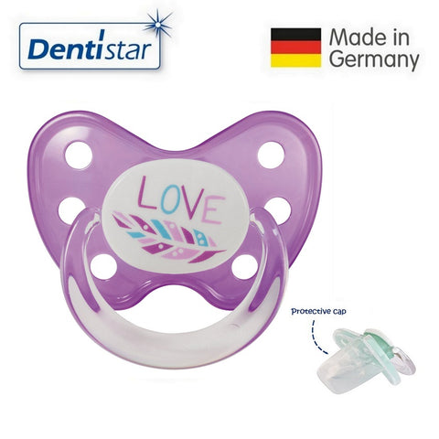 OceanoKidz.com - Dentistar Tooth-friendly Pacifier Silicone (14+ months) size 3, with protective cap - Feather
