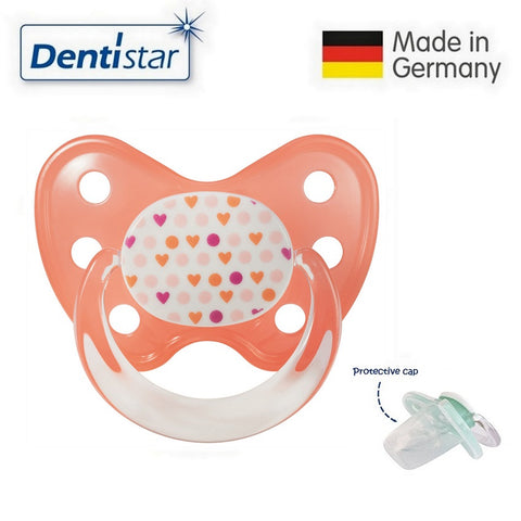 OceanoKidz.com - Dentistar Tooth-friendly Pacifier Silicone (14+ months) size 3, with protective cap - Heart Points