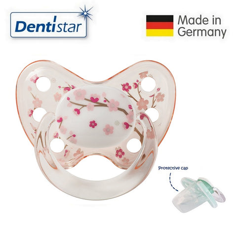OceanoKidz.com - Dentistar Tooth-friendly Pacifier Silicone (14+ months) size 3, with protective cap - Pink Flower