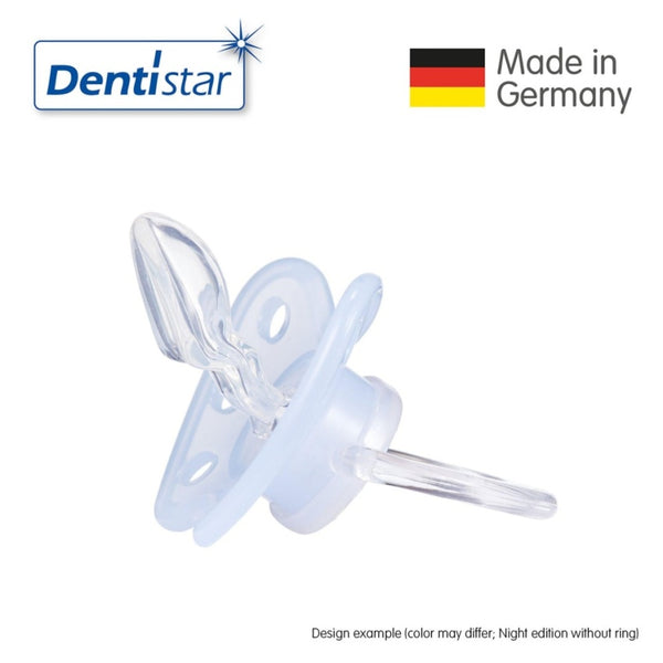 Dentistar Tooth-friendly Night Pacifier (14+ months) size 3 without ring,  with protective cap - Blue Stars