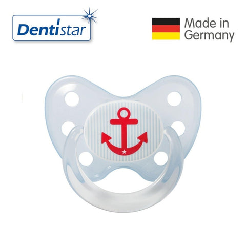 OceanoKidz.com - Dentistar Tooth-friendly Pacifier Soother Silicone (14+ months) size 3 with ring - Anchor [No protective cap]