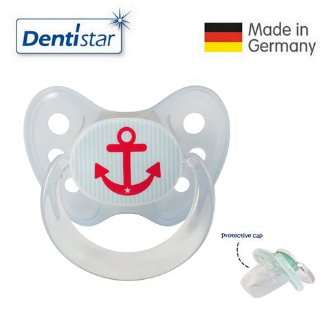 OceanoKidz.com - Dentistar Tooth-friendly Pacifier  Silicone (6-14 months) size 2 with protective cap - Blue Anchor