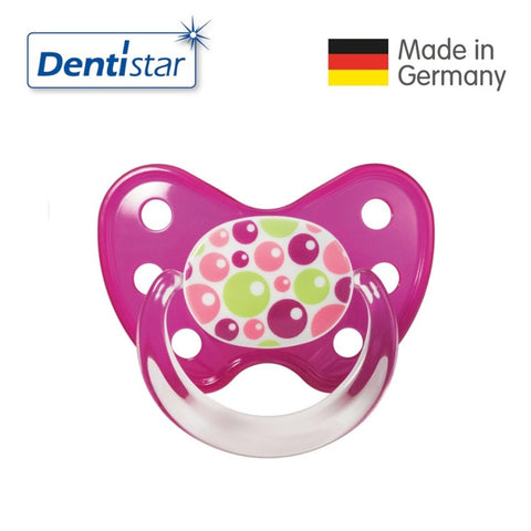 OceanoKidz.com - Dentistar Tooth-friendly Pacifier Soother Silicone (6-14 months) size 2 with ring - Bubbles [No protective cap]