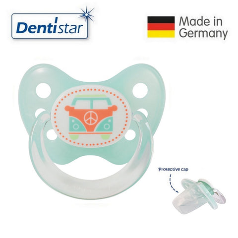 OceanoKidz.com - Dentistar Tooth-friendly Pacifier  Silicone (6-14 months) size 2 with protective cap - Bus