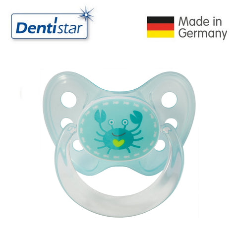OceanoKidz.com - Dentistar Tooth-friendly Pacifier Soother Silicone (6-14 months) size 2 with ring - Crab [No protective cap]