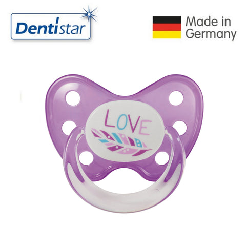 OceanoKidz.com - Dentistar Tooth-friendly Pacifier Soother Silicone (14+ months) size 3 with ring - Feather [No protective cap]