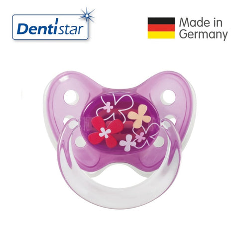 OceanoKidz.com - Dentistar Tooth-friendly Pacifier Soother Silicone (14+ months) size 3 with ring - Flowers [No protective cap]