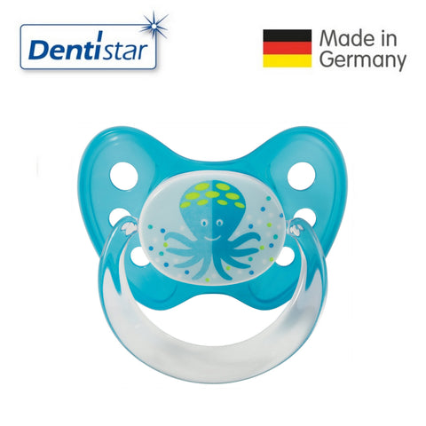 OceanoKidz.com - Dentistar Tooth-friendly Pacifier Soother Silicone (6-14 months) size 2 with ring - Octopus [No protective cap]