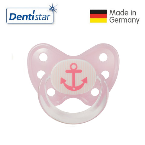 OceanoKidz.com - Dentistar Tooth-friendly Pacifier Soother Silicone (14+ months) size 3 with ring - Pink Anchor [No protective cap]