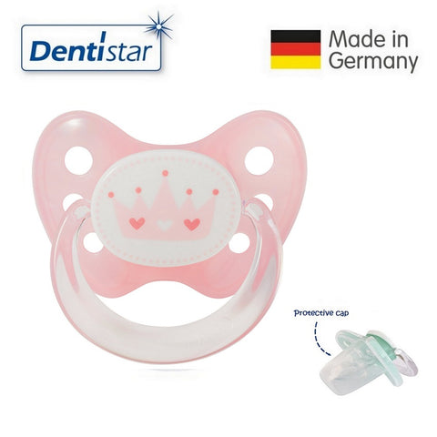 OceanoKidz.com - Dentistar Tooth-friendly Pacifier  Silicone (6-14 months) size 2 with protective cap - Pink Crown