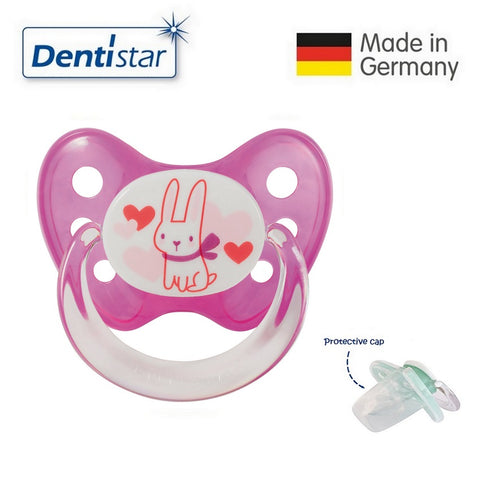 OceanoKidz.com - Dentistar Tooth-friendly Pacifier  Silicone (6-14 months) size 2 with protective cap - Rabbit