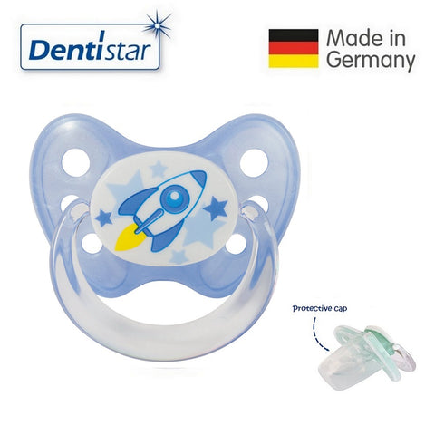 OceanoKidz.com - Dentistar Tooth-friendly Pacifier  Silicone (6-14 months) size 2 with protective cap - Rocket