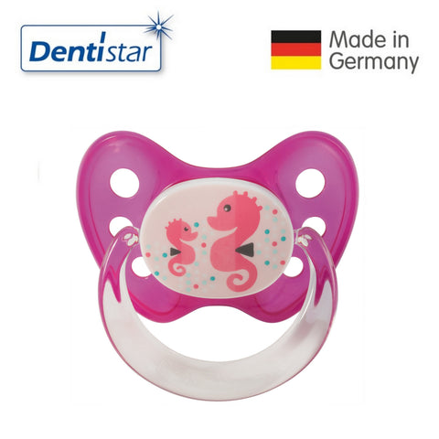 OceanoKidz.com - Dentistar Tooth-friendly Pacifier Soother Silicone (6-14 months) size 2 with ring - Seahorse [No protective cap]