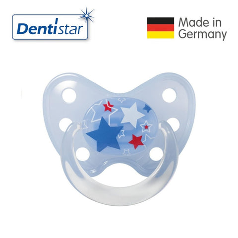 OceanoKidz.com - Dentistar Tooth-friendly Pacifier Soother Silicone (14+ months) size 3 with ring - Stars [No protective cap]