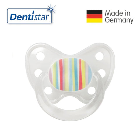 OceanoKidz.com - Dentistar Tooth-friendly Pacifier Soother Silicone (14+ months) size 3 with ring - Stripes [No protective cap]
