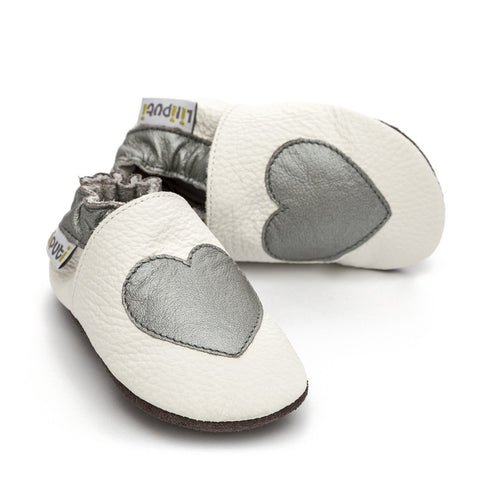 Liliputi® Soft Leather Baby Shoes - Silver Love