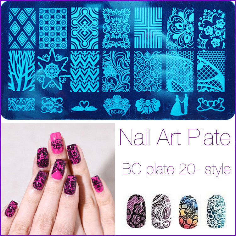 20 Patterns Stainless Steel Nail Art Stamping Plates Nail Seal ...
