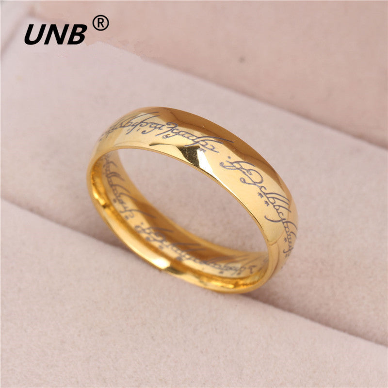 2017 Midi Ring Tungsten One Ring of Power Gold the Lord of Ring Lvers Women and Men Fashion Jewelry