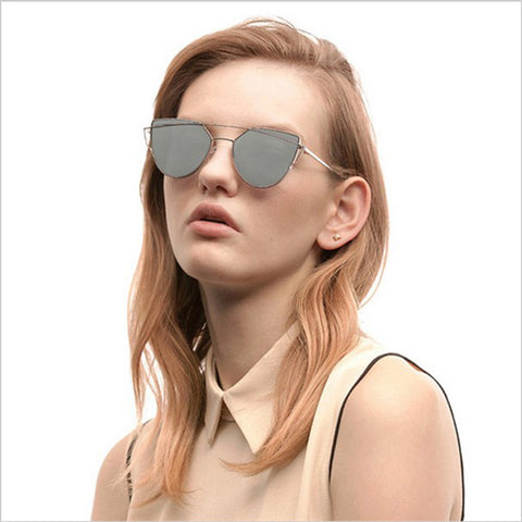2017 New Cat Eye Sunglasses Women Vintage Fashion Rose Gold Mirror Sun Glasses Unique Flat Ladies Sunglasses Oculos UV400