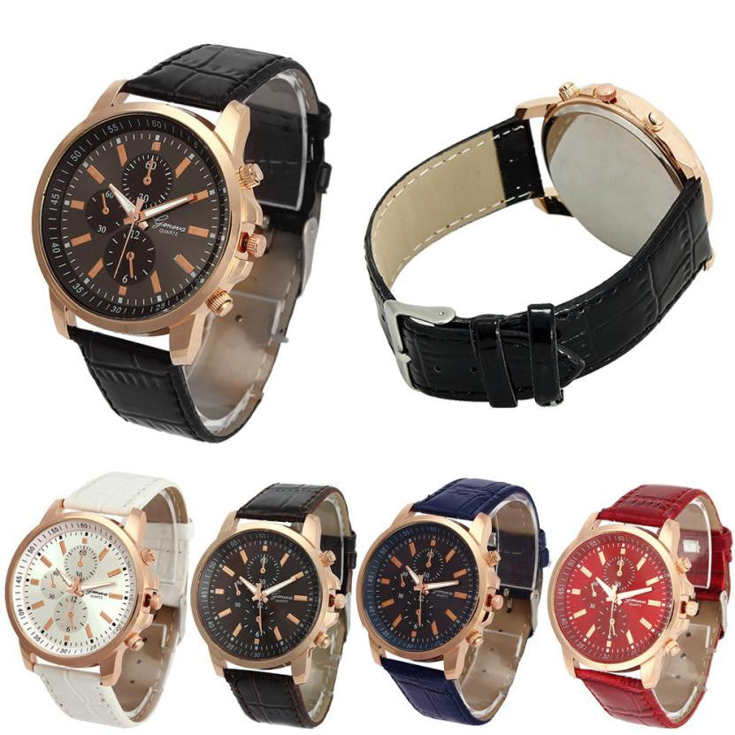2017 Women Men Wrist Watches Casual Geneva Faux Leather Quartz Analog reloj hombre