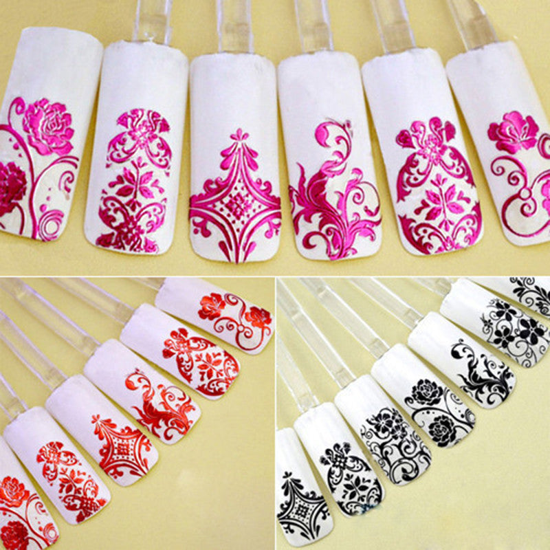 3D Silver Flower Nail Art Stickers Decals Stamping Diy Stickers For Nails Decoration Tools Naklejki Wodne 1sheet = 108pcs