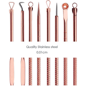 4PCS Rose Gold Blackhead Extractor Tool Acne Extractor Black Spots Remover Kit Pore Cleanser Tool Blemish Remover