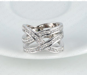 Latest Design Brand Ring Silver Color Genuine SWA Stellux Austrian Crystal Luxury Ring For Women