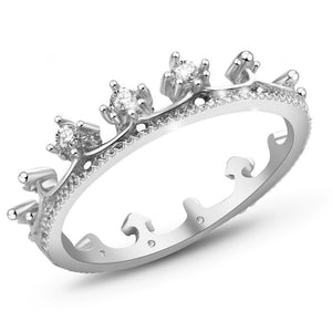 Elegant Queen's Silver Crown Ring For Women Punk New Brand Fashion Crystal Jewellery Lady Rings Femme Bijoux