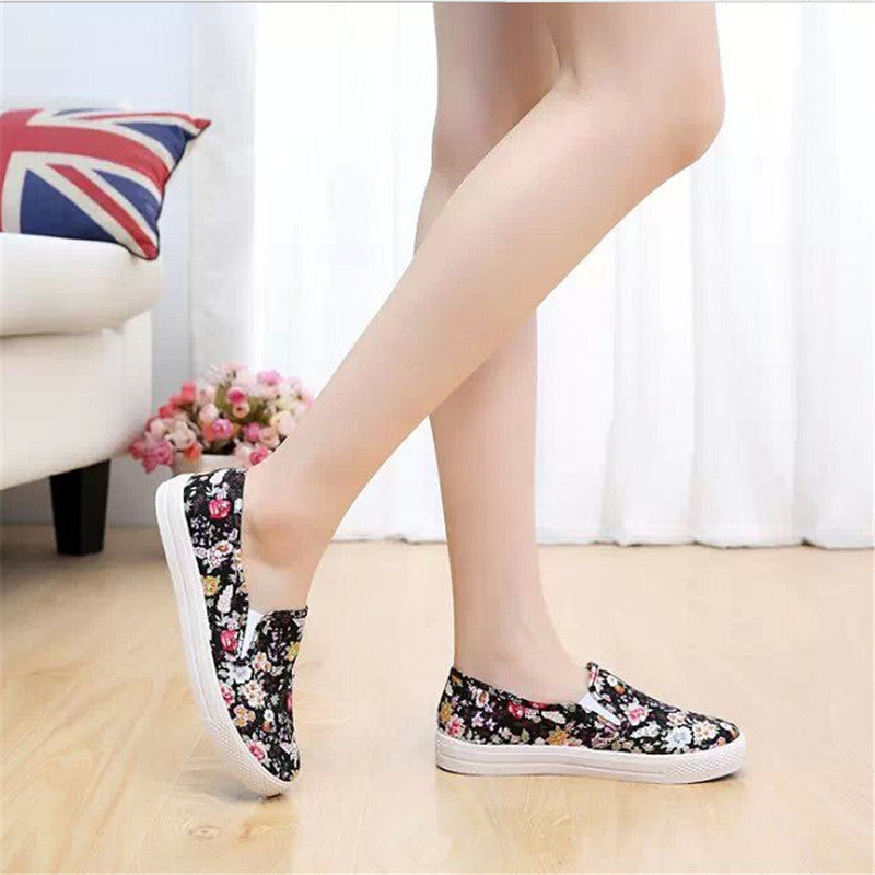Flower print women flat shoes 2017 platform summer loafers comfortable ladies slip on flats casual canvas shoes