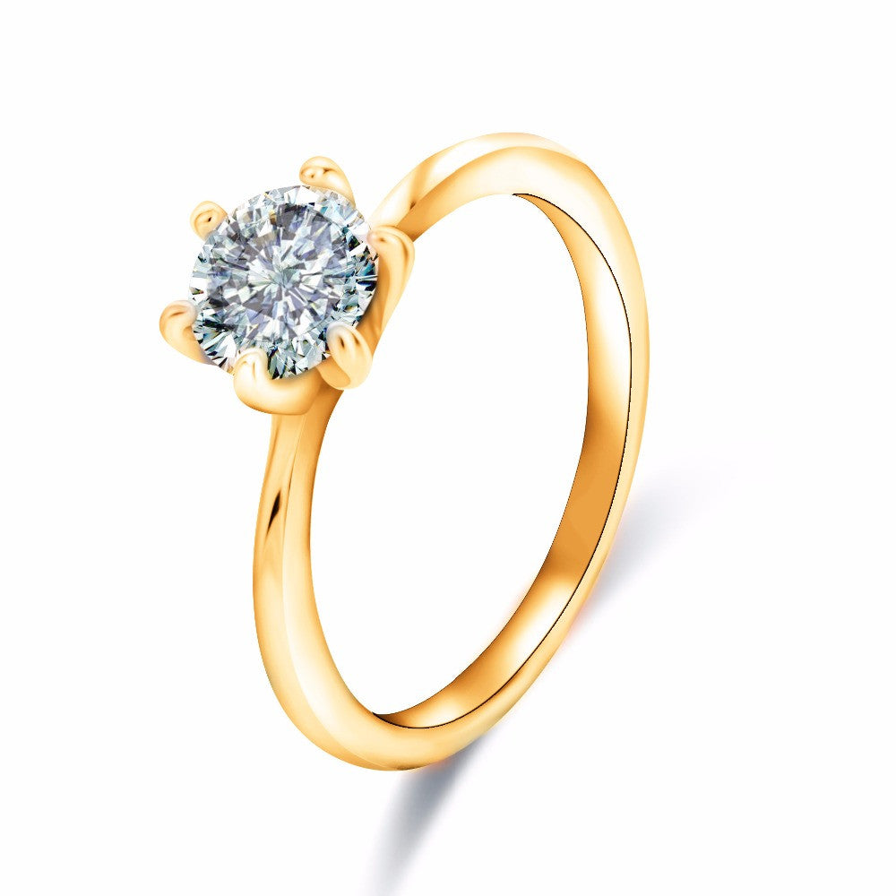 Rose Gold Plated Fashion Design Twin Zircon CZ Diamond Engagement Rings for Woman