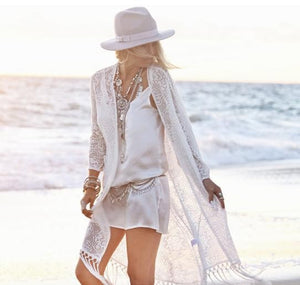 2016 Beach Bikini Dress Cover Up  Sexy  Hollow Out Short White Lace Dress Summer Beach Dress Plus Size Bohemian New Vestido - Gifts Leads