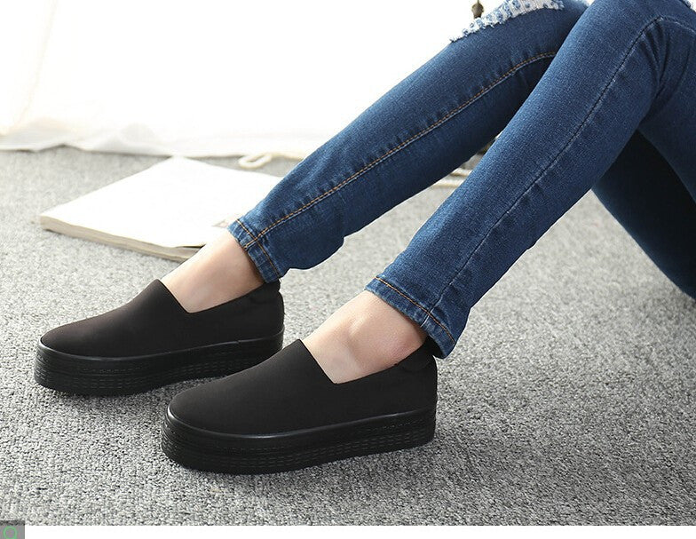 2016 new muffin heavy-bottomed shallow mouth of canvas shoes