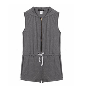 Fashion 2017 Womens Hooded Romper Sleeveless V Neck Jumpsuits Sport Ladies Casual Clothing Plus Size S-5XL