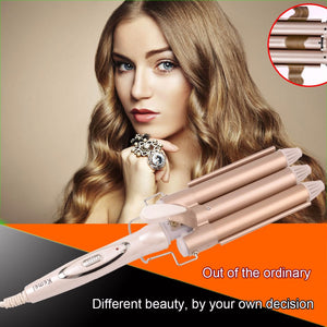 High Quality Professional 110-220V Hair Curling Iron Ceramic Triple Barrel Hair Curler Hair Waver Styling Tools Hair Styler A00