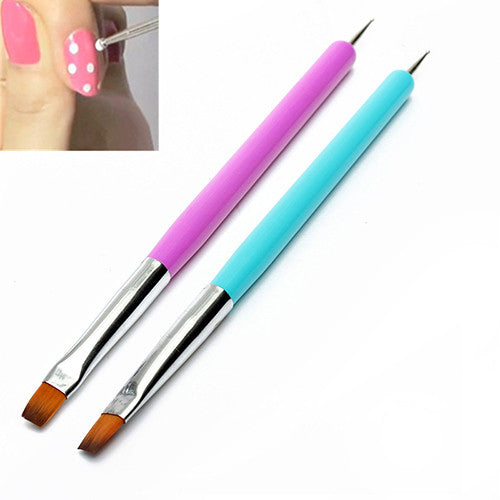 Hot 2017 New Arrival Promotion 2-Ways Nail Art Pen Painting Dotting Acrylic UV Gel Polish Brush Liners Tool