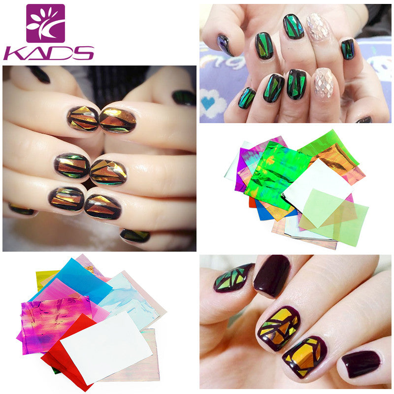 21pcs/pack Holographic DIY Nail Art Broken Glass Foil Finger Stencil Decal Sticker 21 Colors Nail Art Mirror Manicure Tool
