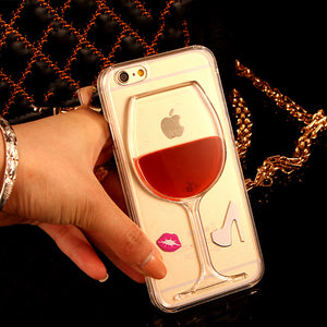 iPhone 7 For iPhone 4 4S 5 5S SE 5C 6 6S 7 Plus Liquid Quicksand Red Wine Transparent Phone Case Hard PC Back Cover