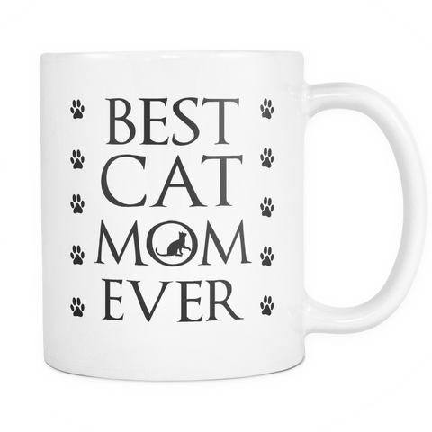 Best Cat Mom Ever Coffee Mug & Cup, Cute White 11 Oz Mug, Cat Lover Gift For Mom, Grandpa and Family