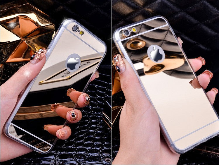 Lifone Rose gold Luxury Mirror Flash Fashion Case For iPhone 7 6 6S Plus 5s SE Soft Clear TPU Cover For iPhone 6 7 6S 5S