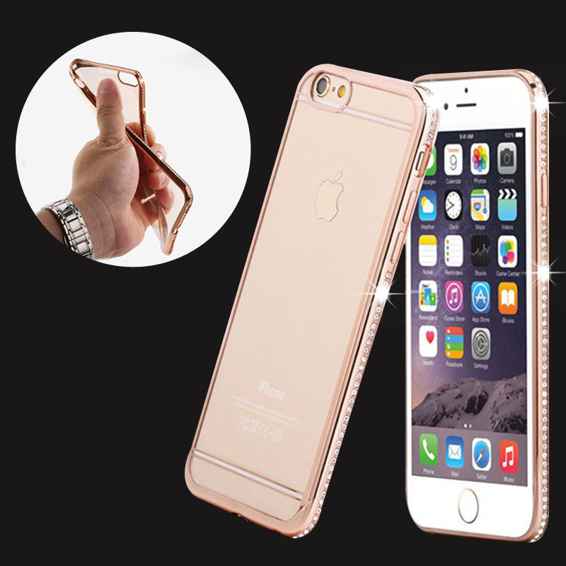 Luxury Rhinestone Frame Case For iphone 7 6 6s 5 5S SE Ultra Thin Clear Soft TPU Crystal Diamond Cover For iphone 6 6S 7 Plus