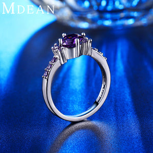 White gold plated Rings For Women Purple Amethyst CZ Diamond Jewelry Engagement Bague Bijoux Wedding Accessories