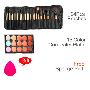 Makeup Set 15 Color Makeup-up Concealer Platte Base and 24pcs Pro Makeup Brushes Cosmetic Kit Sponge Puff  Tool